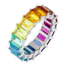 Absolute™ Sterling Silver Rainbow Baguette Eternity Ring