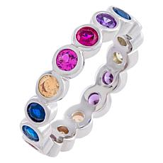 Absolute™ Sterling Silver Rainbow Bezel-Set Eternity Ring