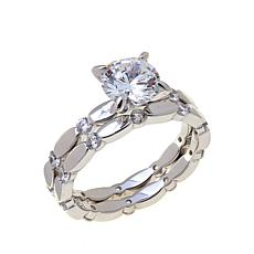 Absolute™ Sterling Silver Round Solitaire 2pc Ring Set