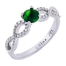 Absolute™ Sterling Silver Simulated Gemstone and CZ Openwork Ring
