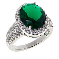 Absolute™ Sterling Silver Simulated Gemstone Pavé Frame Ring