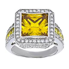 Absolute™ Sterling Silver Yellow and Clear CZ Square Pavé Ring