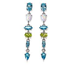 Absolute™ Synthetic Opal and Multicolor CZ Sterling Silver Earrings
