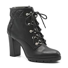 Adrienne Vittadini Trailer Lace Leather Bootie