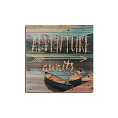 Adventure Awaits Boats 29x29 Print on Wood