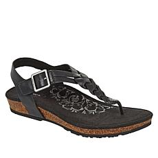 Aetrex® Harper Braided Leather Orthotic Thong Sandal