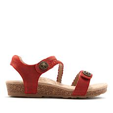 Aetrex® Jillian Braided Leather Wedge Sandal