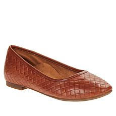 Aetrex® Lyla Woven Leather Flat with Built-In Orthotic System