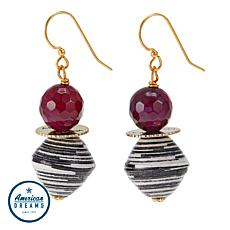 "Akola ""Glimpse of the Mara"" Agate and Karatasi Bead Drop Earrings"