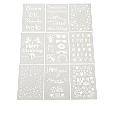 Aladine Reusable 9-piece Sentiments Stencil Set