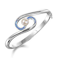 Alamea Sterling Silver Cultured Pearl and Aquamarine Bangle Bracelet