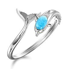 Alamea Sterling Silver Larimar and White Topaz Dolphin Bangle Bracelet