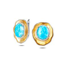 Alamea Two-Tone Sterling Silver Larimar and Topaz Earrings