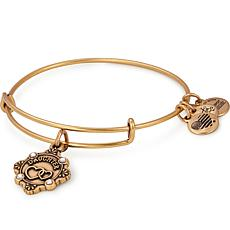 "Alex and Ani ""Daughter"" Adjustable Wire Bangle Crystal Charm Bracelet"
