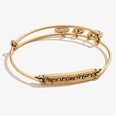 "Alex and Ani ""Friends"" Logo Bar Expandable Bangle Bracelet"