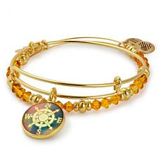 Alex and Ani Goldtone Compass Art Infusion Set of 2 Bangles