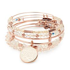 Alex and Ani Love Charm Beaded Expandable Bangle 5-piece Bracelet Set