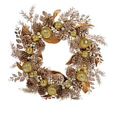 """Alison  Cork  24"""" Gold Wreath with LED Lights"""