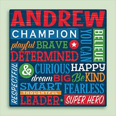 All About Him Personalized 16x16 Canvas