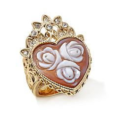 "AMEDEO 25mm ""Rose"" Heart-Shaped Cameo and Crystal Ring"