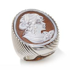 AMEDEO 28mm Lady Cameo Sterling Silver Ring