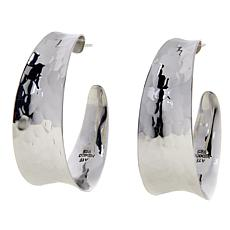 "Amena K® Silver Designs Hammered 1-1/2"" Hoop Earrings"