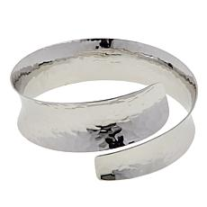 "Amena K® Silver Designs Hammered 8"" Bypass Bangle Bracelet"