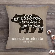 An Old Bear and His Honey Throw Pillow