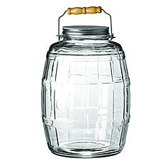 Anchor Hocking 2.5-gallon Glass Storage Barrel Jar w Metal Lid, Handle