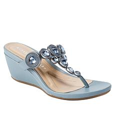 Andrew Geller Florisel Jeweled T-Strap Wedge Sandal