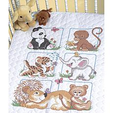Animal Babies Crib Quilt Stamped Cross-Stitch Kit