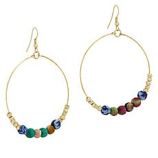 Anju Recycled Sari Fabric Bead Circle Drop Earrings