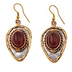 Anju Simulated Red Agate Pear Drop Earrings