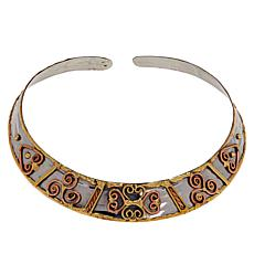 Anju Tri-Color Heart Design Collar Necklace