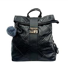 Anna Cai Black Faux Leather Backpack