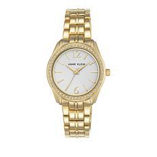 Anne Klein Crystal Bezel Goldtone Bracelet Watch