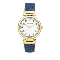 Anne Klein Goldtone Navy Denim Strap Watch