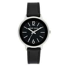 Anne Klein Women's Black Faux Leather Strap Watch