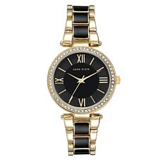 Anne Klein Women's Goldtone and Black Crystal Bezel Bracelet Watch