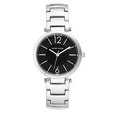 Anne Klein Women's Silvertone Black Dial Bracelet Watch