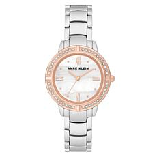 Anne Klein Women's Two-Tone Rosetone Crystal Bracelet Watch