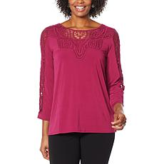 Antthony Bracelet-Sleeve Crochet Knit Tunic Top