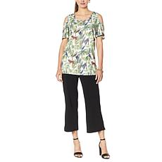 Antthony Cold-Shoulder Printed Top and Crop Pant Set