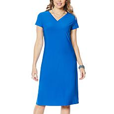 Antthony Double V-Neck Solid Midi Dress