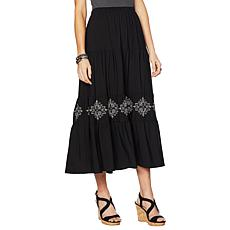 "Antthony ""Elda Collection"" Embroidered Tiered Maxi Skirt"