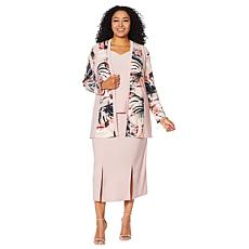 "Antthony ""Modern Moda"" 3-piece Printed Jacket, Tank and Skirt Set"