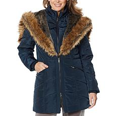 Antthony Puffer Jacket with Faux Fur Trim