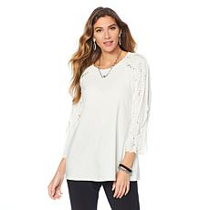 "Antthony ""Signature Classic"" Ruffle-Sleeve Top"