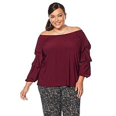 "Antthony ""Signature Classic"" Ruffled Sleeve Off-the-Shoulder Top"