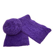 """Antthony """"Timeless Textures"""" Chenille Scarf and Beret"""